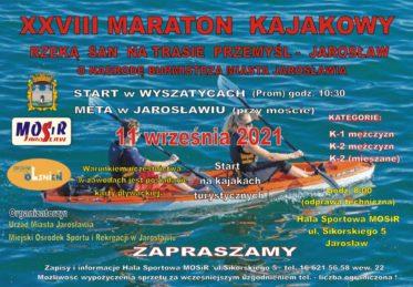 XXVIII MARATON KAJAKOWY Rzeką San na trasie Przemyśl – Jarosław o Nagrodę Burmistrza Miasta Jarosławia -11.09.2021