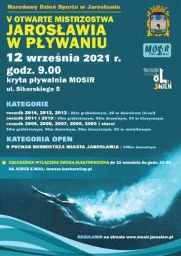 V Otwarte Mistrzostwa Jarosławia w Pływaniu  – 12.09.2021 w ramach Narodowego Dnia Sportu.